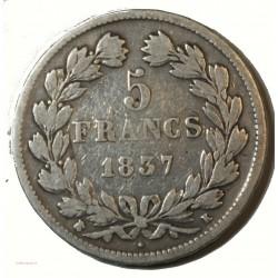 Ecu Louis Philippe Ier - 5 Francs 1837 D Lyon