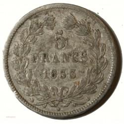 Ecu Louis Philippe Ier - 5 Francs 1833 D Lyon Tranche relief G.678 TB+