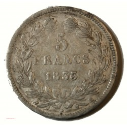 Ecu Louis Philippe Ier - 5 Francs 1831 D Lyon Tranche creux G.677