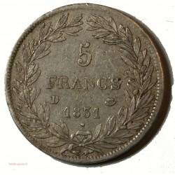 Ecu Louis Philippe Ier - 5 Francs 1831D LYON Tranche creux G.676 SUP