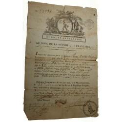 """Siège de Lyon Laissez passer, brumaire de l'an II 1793 """" Commune Affranchie """""""