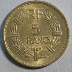 FRANCE - 5 Francs 1945 C rare et joli, Bronze -Aluminium