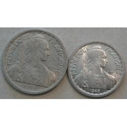 INDOCHINE - 10 Cent. 1945 et 50 Cent. 1945