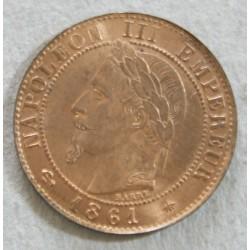 NAPOLEON III - 1 centime 1861A  SUP+