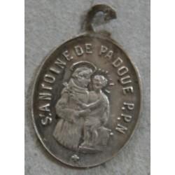 Médaillette argent ST Antoine de Padoue et ST François d'Assise