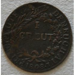 SUISSE - 1 creut 1808, Principauté de Neuchâtel