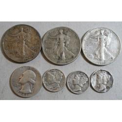 USA - LOT dime, quater dollar et half dollar - total 7 pièces en argent