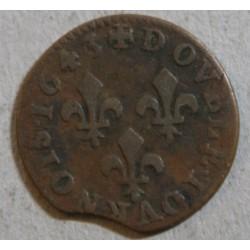 ROYALE - Corbeil (Paris),  Double tournois Louis XIII 1643 fauté