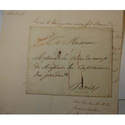 Lettre de Maison du roi 1825 Beaux Arts signé Sosthène Rochefoucauld + enveloppe