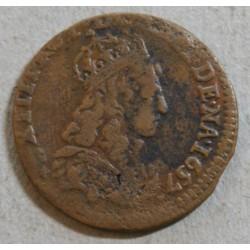 Louis XIV - Liard de France 1657 E TOURS (Meung sur loire)