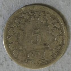 Suisse -  5 rappen 1850 BB X6 exemplaires différents états