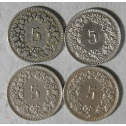 Suisse -  lot de 4 x 5 rappen 1884, 1885, 1888, 1894