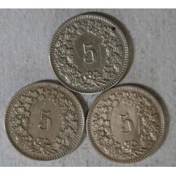 Suisse -  lot de 3 x 5 rappen 1884, 1885, 1894