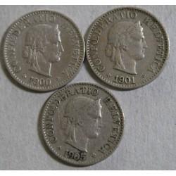 Suisse - 5 rappen 1900-1901-1905