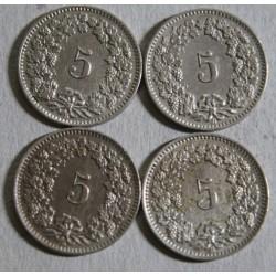 Suisse -  5 rappen 1908-1911-1912-1913