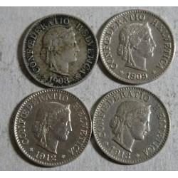 Suisse - 5 rappen 1908-1909-1912-1913