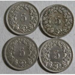 Suisse -  5 rappen 1906-1908-1909-1914