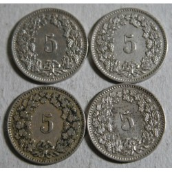 Suisse -  5 rappen 1907-1908-1909-1915