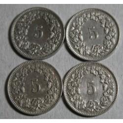 Suisse -  5 rappen 1907-1902-1909-1913