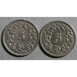 Suisse -  5 rappen 1907-1902