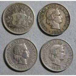 Suisse - Helvétique 10 rappen 1850-1880-1881-1884