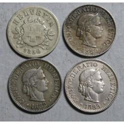 Suisse - Helvétique 10 rappen 1850-1880-1882-1883