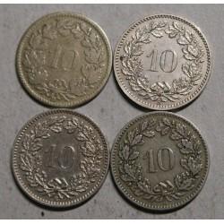 Suisse - Helvétique 10 rappen 1850-1883-1885-1897