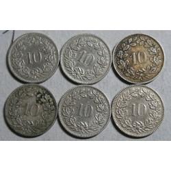 Suisse - Helvétique 10 rappen 4x 1897-1915-1919