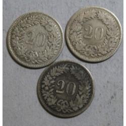 Suisse -  3 x 20 rappen 1850 bb (3)