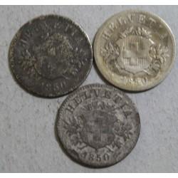 Suisse - 3 x 20 rappen 1850 bb (2)