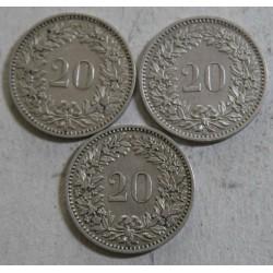 Suisse -   20 rappen 1881-1883-1884