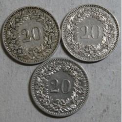 Suisse -   20 rappen 188 -1883- 1884 en sup