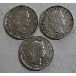 Suisse - 3 x 20 rappen 1850 bb