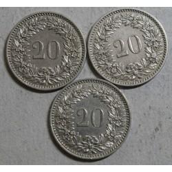 Suisse -   20 rappen 1898 et 1934 en sup et 1899