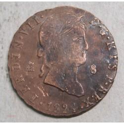 ESPAGNE Fernand VII, 8 maravédis 1824 ségovia