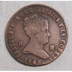 ESPAGNE ISABEL 2e, 8 maravédis 1843 Ségovia