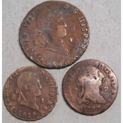 ESPAGNE lot: 2 maravédis 1828 et1777 et 4 maravédis 1826