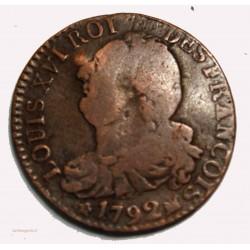 CONSTITUTION - 6 deniers 1792 Marseille cote 130€