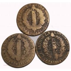 CONSTITUTION - 3x 6 deniers 1792 L et 1793 T cote 80€