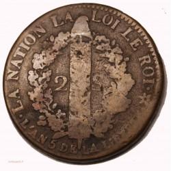CONSTITUTION - 2 sols 1793 bb strasbourg