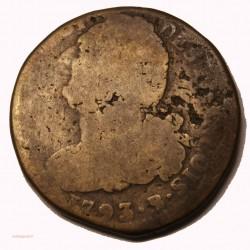 CONSTITUTION - 2 sols 1793 ROUEN métal de cloche