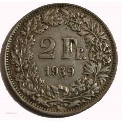 Suisse - 2 francs 1939 argent/silver