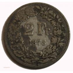 Suisse -  2 francs 1875 argent-silver