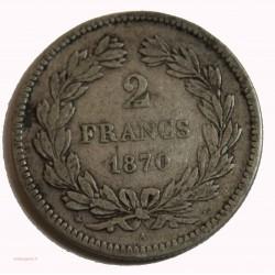 CERES - 2 Francs 1870 A s-légende TTB cote 180€