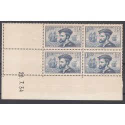 COIN DATE TIMBRES N°297 JACQUES CARTIER 1934 NEUFS**  COTE 950 Euros L'art des gents