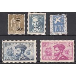 TIMBRES ANNEE COMPLETE 1934 N°294 à N°298 NEUF** COTE 434 Euros L'art des Gents