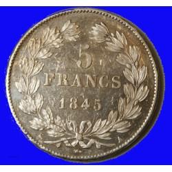 Louis Philippe Ier - écu 5 Francs 1845 A Paris SUP+