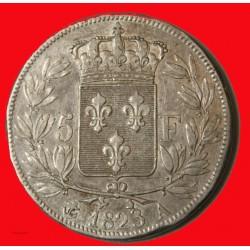 CHARLES X - écu 5 Francs 1827 W Lille TB+