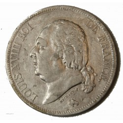 LOUIS XVIII - écu 5 Francs 1821 A PARIS TTB
