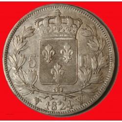 LOUIS XVIII - écu 5 Francs 1824 W LILLE TB+